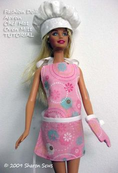 Sew a Barbie apron, oven mitt and matching chef hat