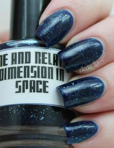 Nail polish based on Doctor Who? Time and Relative Dimension in Space from The Doctor Is In Collection on Etsy. Blue Nail Polish, Blue Nails, Nail Polish Designs, Nail Art Designs, Doctor Who Nails, Hair And Nails, My Nails, Mary Janes, Glitter Nail Art