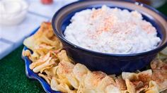 Step up your snack game with creamy crab dip and spicy chips