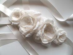 Chantelle Ivory flower cluster silky satin bridal sash belt