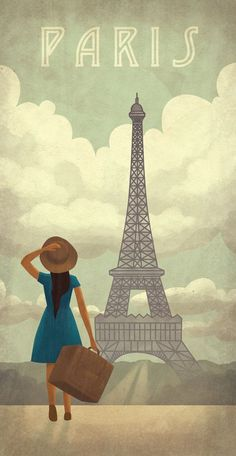 Woman Looking at the Eiffel Tower, Paris vintage travel poster Tour Eiffel, Torre Eiffel Paris, Retro Poster, Poster S, Paris Girl, I Love Paris, Paris Paris, Paris Illustration, Illustrations