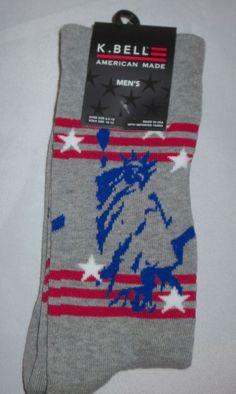 K Bell Mens Socks STATUE OF LIBERTY CREW GRAY Patriotic  10-13 #KBell #Casual