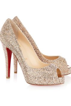 Christian Louboutin Swarovsky crystal suede pumps - Imgend