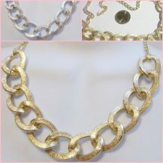 Gold or Silver Tone 18-20 inch Chunky Textured Chain Trendy Fashion Necklace  #Unbranded #Statement