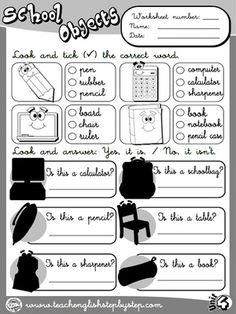 School Objects - Worksheet 6 (B&W version)