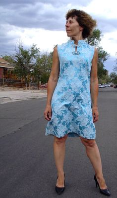 Vintage 1960s Brocade Dress Blue Chinoiserie Dress by bycinbyhand, $80.00