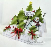 I have a fun winter holiday project to share with you today using the stair step fold. Rubbernecker's Blake is the friendly snowman featured in this snowy tree filled scene. I think he is so cute. The sign of the...