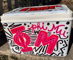 COOLERSbyU Painted Cooler Examples | Phi Mu Sorority Letters | Tags: sorority, phi mu, painted, custom cooler Sorority Letters, Sorority Gifts, Painted Coolers, Fraternity Coolers, Cooler Painting, Beer Pong Tables, Phi Mu, Painting Inspiration, Little Gifts