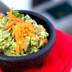 Guacamole with Carrots! A colorful and healthy take on this classic dip.
