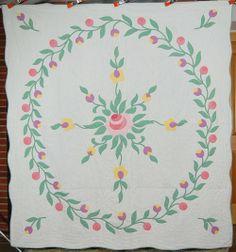Floral Art Quilts | Details about Large Vintage Rose Floral Applique Hand Stitched Antique ...