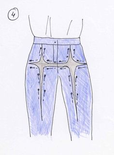How to adjust trousers, part 3 - page shows altering for  full thighs or tummy