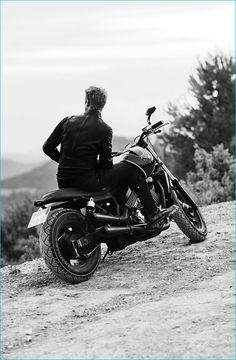 Boyd Holbrook pictured on the back of a motorcycle for Diesel magazine.
