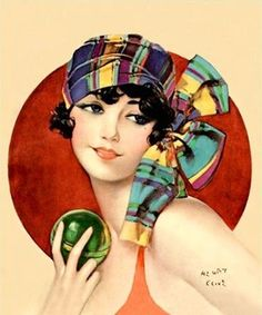 Henry Clive : vintage illustration, graphic / ad / design, pin up girl with scarf in her hair.