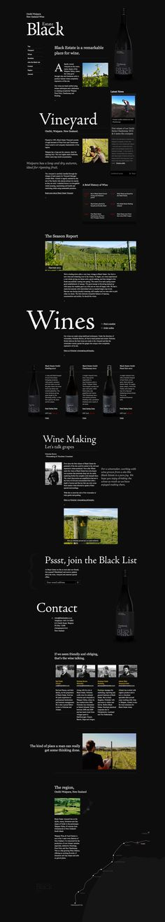 http://www.blackestate.co.nz/ - perfection in dark, single page design. Aging like a fine wine.