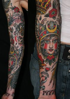 tattoo american traditional styled sleeves - Google Search
