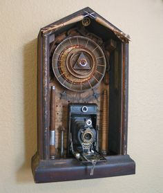 Rust Never Sleeps, assemblage by Victoria Roberts #assemblage #antiquecamera #bigbrother