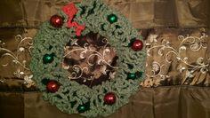 Crochet wreath Crochet Wreath, Tree Skirts, Christmas Tree, Wreaths, Holiday Decor, Home Decor, Homemade Home Decor, Door Wreaths, Xmas Tree