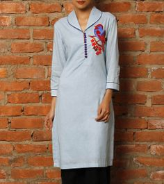 Blue Cotton Tunic with Embroidered Motif