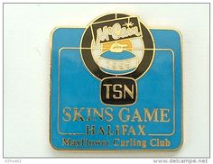 Pin´s CURLING - SKIN GAMES ALIFAX 1995 - MC CAIN - FOND BLEU