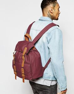 Image 3 of ASOS Smart Canvas Backpack In Burgundy