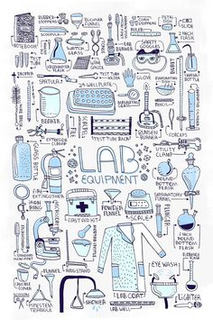 Medical Laboratory and Biomedical Science: Lab Equipment Art Chemistry Lab Equipment, Chemistry Labs, Science Chemistry, Science Art, Science Equipment, Chemistry Quotes, Science Doodles, Chemistry Experiments, Chemistry Drawing