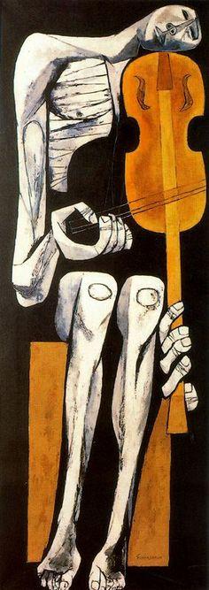 Oswaldo Guayasamin, 'El violinista', 1967, óleo sobre tela, 184 x 69 cm. Ecuador / arte, pintura, latin art