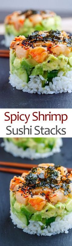 Spicy Shrimp Sushi Stacks Vegan Shrimp, Cooked Shrimp, Shrimp Avocado, Spicy Shrimp Salad, Spicy Shrimp Recipes, Spicy Appetizers, Spicy Salmon, Seafood Recipes, Shrimp Meals