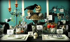 Chris Nease's Halloween inspired dinner party decor is beautiful and creepy all at the same time. I love it!