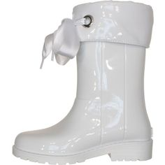 Babybotte TTY Xerise White Rain Boots ($19) ❤ liked on Polyvore featuring shoes, boots, wellington boots, white wellington boots, wellies shoes, white boots and white rubber boots