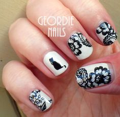 Geordie Nails: Lace & Kitty Manicure
