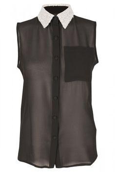 Black & White Sequin Collar Sheer Blouse
