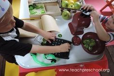The Apple Market dramatic play center by Teach Preschool