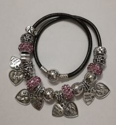 Bracciale collana Pandora in pelle nera e di MySilverWorldStore