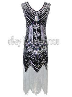 1920s-Flapper-Dress-Great-Gatsby-20s-Fancy-Downton-Costume-Headband-Bracelet