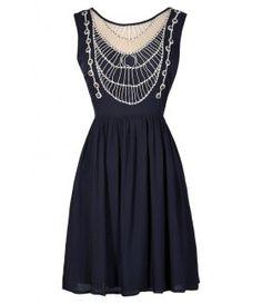 Navy and Beige Dress, Navy and Beige Sundress, Cute Navy Dress, Navy Sundress, Navy Crochet Dress, Navy Summer Dress
