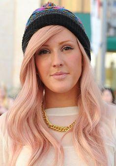 Ellie Goulding - Pastel pink hair - Pantone rose quartz hair inspiration