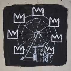 Banksy has created his latest piece of graffiti art at the Basquiat exhibition at London's Barbican Centre. It is true to Banksy's rebellious roots and … Arte Banksy, Banksy Mural, Banksy Artwork, Bansky, Graffiti Art, Street Art Banksy, Jean Michel Basquiat, Andy Warhol, Keith Haring