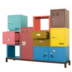 Stack Modular Storage System — Credenzas/Sideboards -- Better Living Through Design Home Office Furniture, Cool Furniture, Furniture Design, Industrial Furniture, Door Storage, Locker Storage, Storage Cabinets, Metal Cabinets, Basement Storage