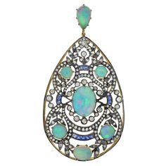 Art Nouveau Important Opal Diamond & Sapphire Gold Pendant . ca 1910