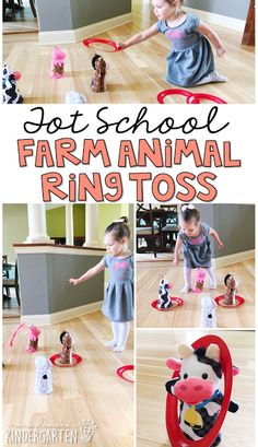 This farm animal ring tos game is much harder than it looks!  A perfect gross motor game for a farm theme in tot school, preschool, or the kindergarten classroom.
