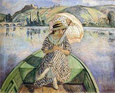 """Mujer en un barco con un paraguas"", óleo sobre lienzo de Henri Lebasque (1865-1937, France)"