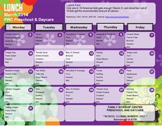 Kids Country Childcare - Daycare Menu. Good ideas for meal ...