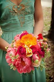 coral peony and pink flowers bouquet with greenish blue bridesmaid dress