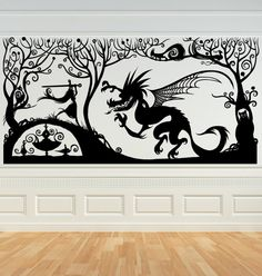 Princess with her Sword Fighting the Dragin, Fariytale, Vinyl Decal, Wall Art, Sticker, perfect for Nursery, Bedroom by VinylWallAccents on Etsy https://www.etsy.com/listing/68640246/princess-with-her-sword-fighting-the