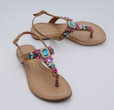 sandálias - rasteiras - chinelos - rasteirinhas - pedraria - Verão 2016 - Ref. 15-10703