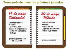 Amplía toda la información de las próximas jornadas que organizamos en: - Valladolid, 19 de mayo - Mérida, 20 de mayo Explicamos las novedades en Formación Programada y los Contratos de formación y aprendizaje. http://www.aenoa.com/category/cursos-y-congresos/c40-cursos/