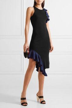 Jonathan Simkhai - Asymmetric Ruffled Stretch-knit Dress - Black - x small