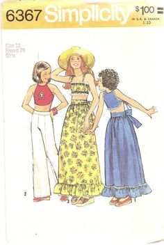 Vintage 1970s Girls Bandeau Top Pattern and Maxi by CherryCorners, $6.00