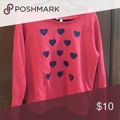 Sweat shirt Red with blue hearts,soft, warm Victoria's Secret Sweaters Crew & Scoop Necks