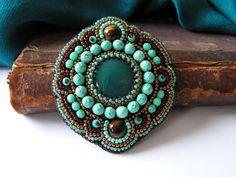 Bead+embroidery+Brooch+Bead+embroidered+jewelry+par+MisPearlBerry,+$64.00